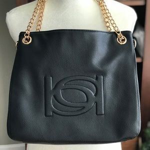 bebe Purse Gold Chain Handles Large Black